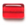 Glass Bead Flat 12x8mm Siam Ruby Rectangular Shape - Strung